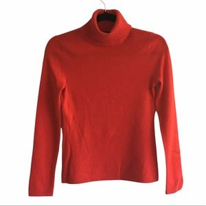 LORD & TAYLOR Cashmere Turtleneck Sweater Red XS